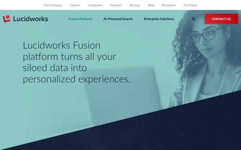 Screenshot of Products Page lucidworks.com - Lucidworks Fusion Platform | Lucidworks - captured June 27, 2019