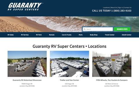 Screenshot of Locations Page guaranty.com - Locations   Guaranty RV Super Centers - captured June 26, 2017