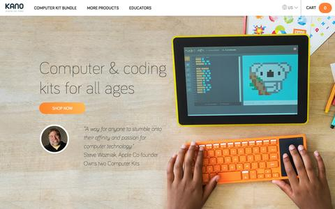 Screenshot of Home Page kano.me - Kano | The educational computer and coding kit for all ages | Kano.me - captured Nov. 3, 2016
