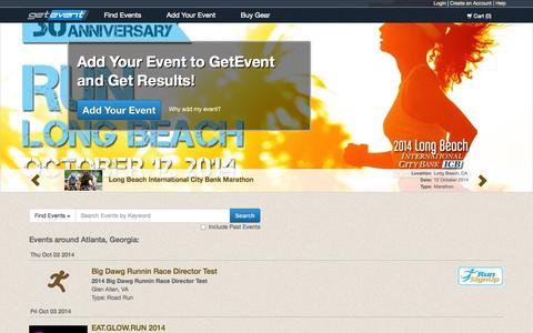 Screenshot of Home Page getevent.com - Event Calendar for Running, Cycling, Triathlon & Winter Races | GetEvent.com - captured Oct. 2, 2014