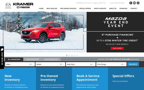 Screenshot of Home Page kramermazda.com - Kramer Mazda: New & Used Mazda Dealership | Calgary, AB. - captured Nov. 15, 2018