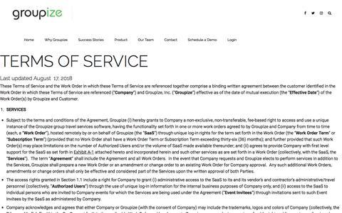 Screenshot of Terms Page groupize.com - Terms of Use – Groupize - captured Nov. 25, 2019