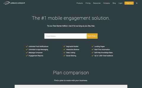 Screenshot of Pricing Page urbanairship.com - Mobile Engagement Packages | Urban Airship - captured Sept. 23, 2016