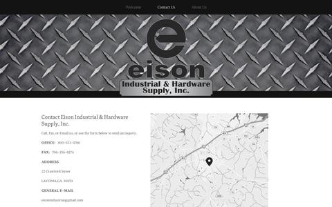 Screenshot of Contact Page squarespace.com - Contact Us — EISON INDUSTRIAL & HARDWARE SUPPLY, INC. - captured Sept. 11, 2014
