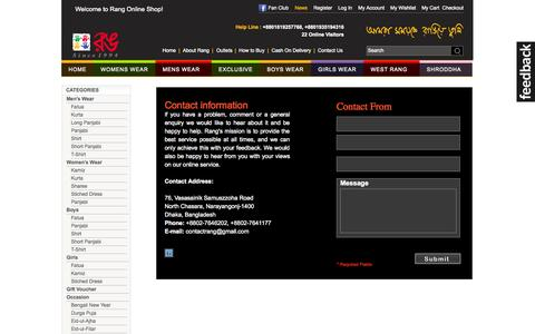 Screenshot of Contact Page rang-bd.com - Rang Online Shop! - captured Oct. 31, 2014
