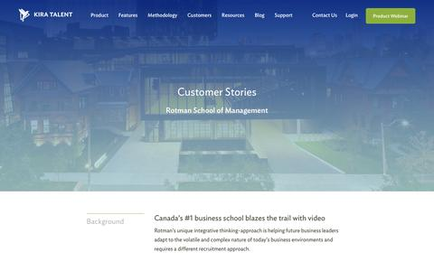 Screenshot of Case Studies Page kiratalent.com - Rotman School of Management - Customer Story | Kira Talent - Video Admissions Platform - captured Oct. 21, 2016