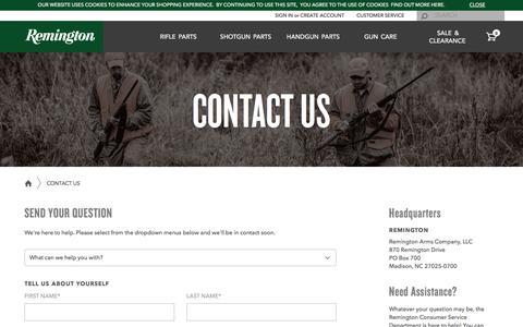 Screenshot of Contact Page remington.com - Shop Remington - captured Sept. 7, 2016