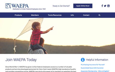 Screenshot of Signup Page waepa.org - Enroll for WAEPA Federal Employee Life Insurance | WAEPA - captured Oct. 27, 2017