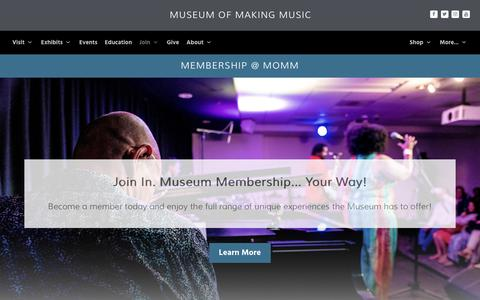 Screenshot of Signup Page museumofmakingmusic.org - Join in! Membership at the Museum of Making Music - captured June 18, 2017