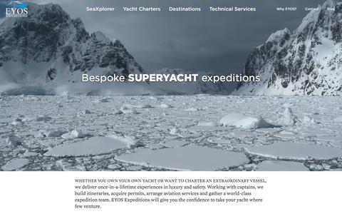 Screenshot of Home Page eyos-expeditions.com - EYOS Expeditions | Expedition Yacht Charter�Antarctica, Arctic, PNG - captured Dec. 6, 2015