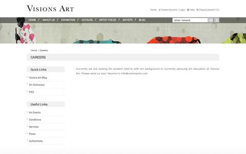 Screenshot of Jobs Page visionsarts.com - Gallery for Modern and Contemporary Indian Art - captured Oct. 26, 2014