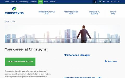 Screenshot of Jobs Page christeyns.com - Your career at Christeyns - captured July 17, 2018