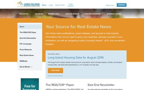 Screenshot of Press Page lirealtor.com - News - captured Sept. 13, 2016