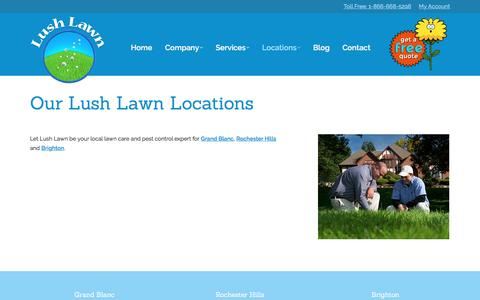 Screenshot of Locations Page lushlawn.net - Our Lush Lawn Locations in Michigan - captured July 19, 2016
