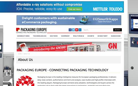 Screenshot of About Page packagingeurope.com - CONNECTING PACKAGING TECHNOLOGY - Packaging Europe - captured Dec. 10, 2019