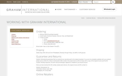 Screenshot of Support Page grahamintl.com - Wholesale Watch Bands Ordering, Shipping & Guarantee | 			Wholesale Watch Bands, Watch Straps, and Accessories in Leather, Metal, and More | Graham International - captured Dec. 15, 2018