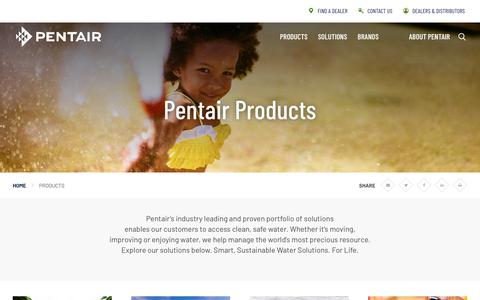 Screenshot of Products Page pentair.com - Products | Pentair - captured Sept. 23, 2019