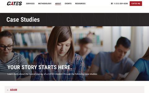 Screenshot of Case Studies Page catestutoring.com - Case Studies Student Stories | CATES Tutoring - captured Sept. 25, 2018