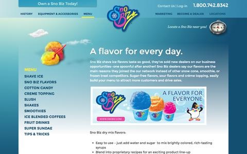 Screenshot of Menu Page snobiz.com - Menu « 1-800-SHAVE-ICE   Sno Biz 1-800-SHAVE-ICE   Sno Biz - captured Oct. 26, 2014