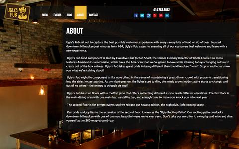 Screenshot of About Page uglyspub.com - About | Ugly's Pub - captured Oct. 7, 2014