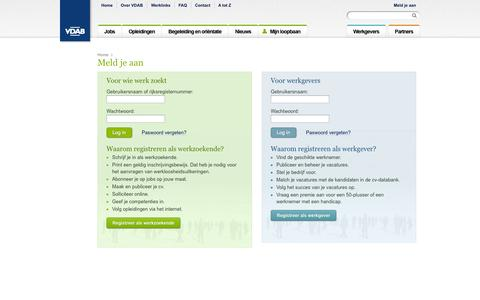 Screenshot of Login Page vdab.be - Login | VDAB - captured Sept. 18, 2014