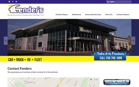 Screenshot of Hours Page fenders.ca - Fenders Automotive I Mechanical, Collision, Glass, Detailing, Tires - captured Oct. 5, 2014