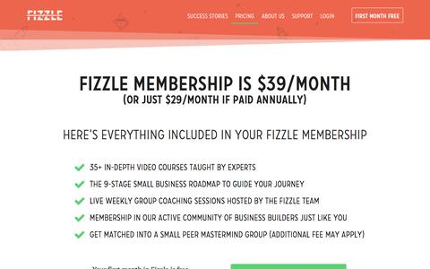 Screenshot of Pricing Page fizzle.co - Fizzle Pricing — Fizzle - captured March 1, 2018