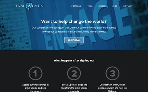 Screenshot of Jobs Page drivecapital.com - Drive Capital »   Careers - captured Aug. 2, 2016
