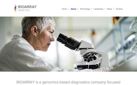 Screenshot of About Page bioarray.us - About - Bioarray Genetics Bioarray Genetics - captured Nov. 22, 2016