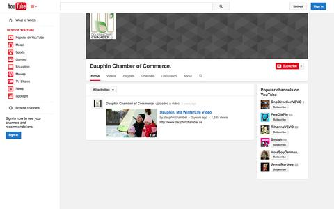 Screenshot of YouTube Page youtube.com - Dauphin Chamber of Commerce.  - YouTube - captured Oct. 23, 2014
