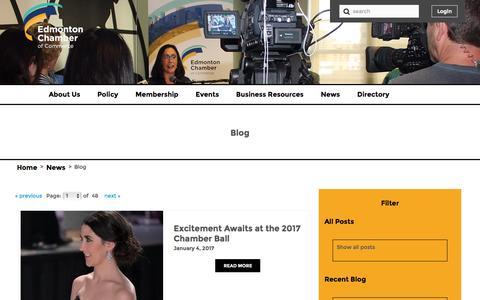 Screenshot of Blog edmontonchamber.com - News - captured Jan. 8, 2017