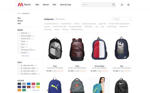 Screenshot of myntra.com - Backpacks - Buy Backpacks for Men, Women & Kids Online | Myntra - captured June 20, 2017