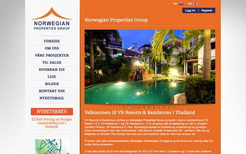 Screenshot of Home Page vnresidences.com - Forside - VN Resorts & Residences - captured Oct. 6, 2014
