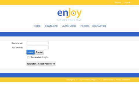 Screenshot of Login Page enjoymoviesyourway.com - Login - captured June 5, 2017