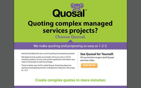 Screenshot of Landing Page quosal.com - Simplify Quoting and Proposing - captured Oct. 27, 2014