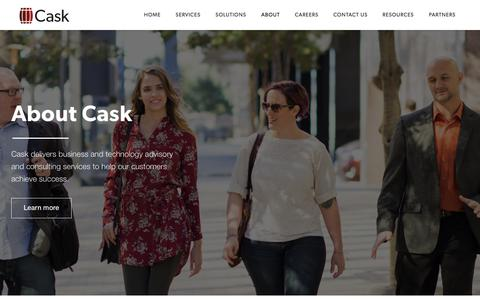 Screenshot of About Page caskllc.com - Business and Technology Consulting | Business Transformation | Cask - captured April 19, 2018