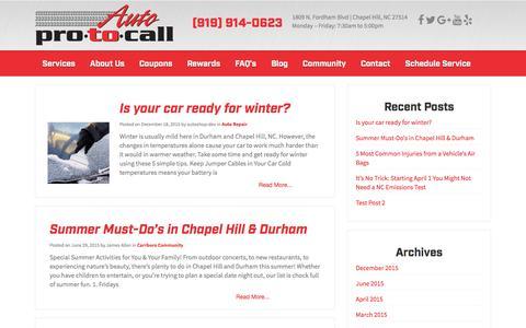 Screenshot of Blog autoprotocall.com - Auto Repair Blog Chapel Hill NC - Auto Pro To Call Mechanics - captured Dec. 27, 2015