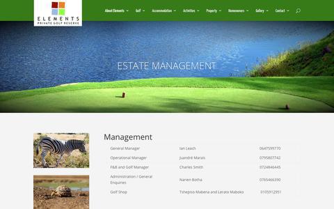 Screenshot of Team Page elementsgolfreserve.co.za - Elements Estate Management contact | - captured June 29, 2018