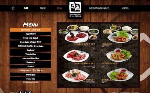 Screenshot of Menu Page gyukaku.com.ph - Menu - Executive Lunch Set - captured April 16, 2016