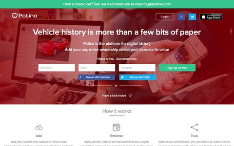 Screenshot of Home Page getpatina.com - Patina - Digital vehicle history, make ownership easier and increase value - captured Oct. 2, 2014