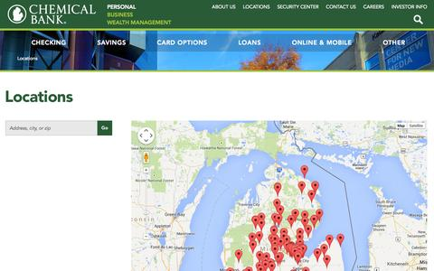 Screenshot of Locations Page chemicalbankmi.com - Locations across Michigan   Chemical Bank - captured Sept. 19, 2014