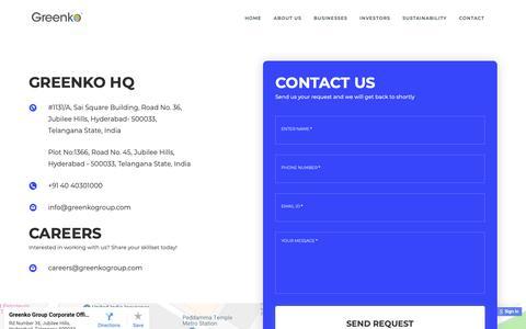 Screenshot of Contact Page greenkogroup.com - Greenko Group - captured Nov. 11, 2018