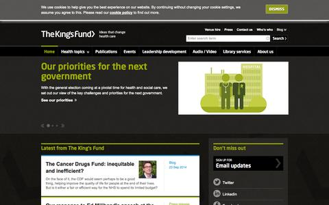 Screenshot of Home Page Privacy Page kingsfund.org.uk - The King's Fund | Ideas that change health care - captured Sept. 25, 2014