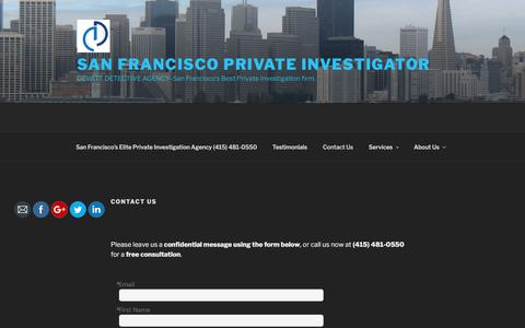 Screenshot of Contact Page sfdetective.com - Contact San Francisco Private Investigation - DeWitt Detective Agency - captured Oct. 22, 2017