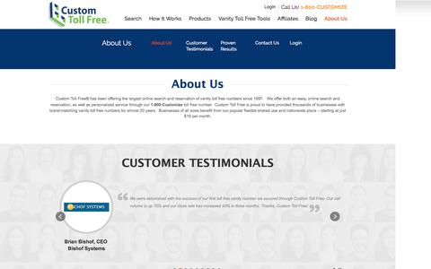 Screenshot of About Page Contact Page customtollfree.com - About Us - Custom Toll Free - captured July 18, 2016