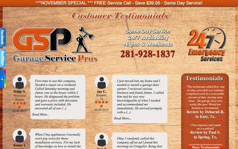 Screenshot of Testimonials Page garageservicepros.com - Testimonial | - captured Dec. 7, 2015