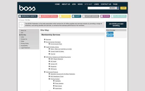 Screenshot of Site Map Page bossfederation.com - BOSS Federation | Top Links | Site Map - captured Aug. 1, 2018
