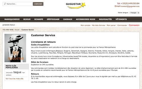 Screenshot of Support Page gugustar.com - Customer Service - captured Nov. 4, 2014