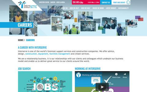 Screenshot of Jobs Page interserve.com - A career with Interserve | Find out about our culture, vision and values. - captured Oct. 15, 2018
