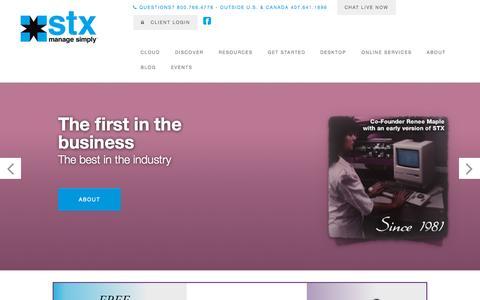 Screenshot of Home Page stxsoftware.com - STX Software l Salon & Spa Management Software - captured Sept. 16, 2015